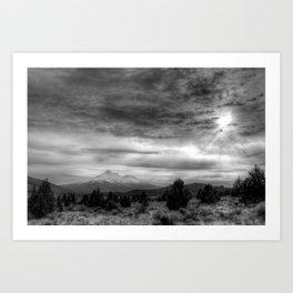 Mt Shasta in B & W Art Print