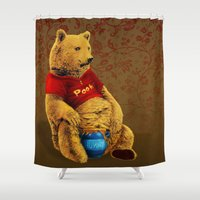 pooh Shower Curtains featuring Pooh by J ō v