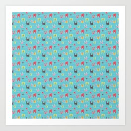Colorful bunnies on blue background Art Print
