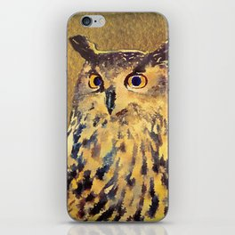 European Eagle Owl Watercolor Art iPhone Skin
