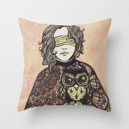 The Seer and the Owl Throw Pillow