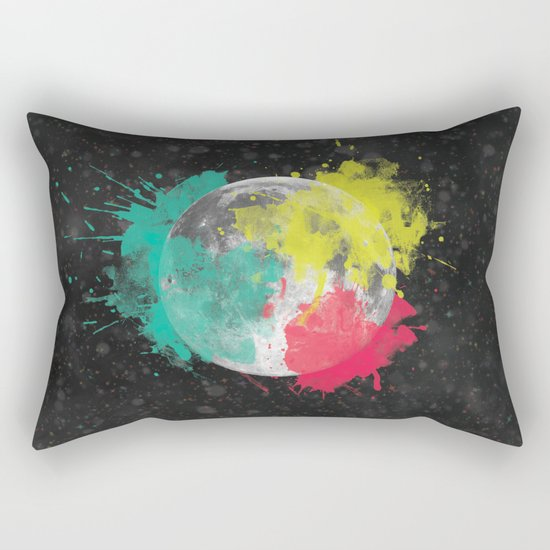 Moon + Neon Rectangular Pillow