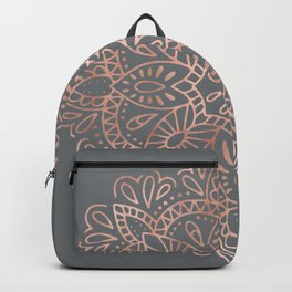 Mandala Rose Gold Pink Shimmer on Soft Gray by Nature Magick Backpack