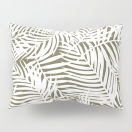 Tropical Olive Green Leaves Pillow Sham