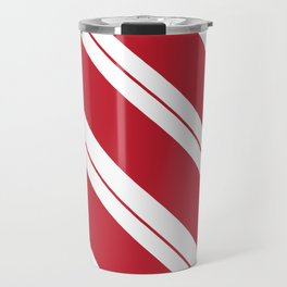 Tilted Classic Red Candy Cane Travel Mug