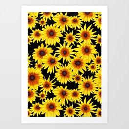 Yellow Flowers | Pattern | Black Background Art Print