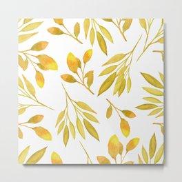 Autumn Watercolor Yellow Fall Leaves Metal Print
