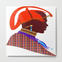 Kenya massai warrior digital art graphic design atalanta creative Metal Print