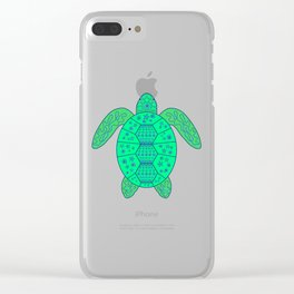 Sea Turtle - Blue and Green Clear iPhone Case