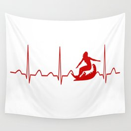 SURFING WOMAN HEARTBEAT Wall Tapestry