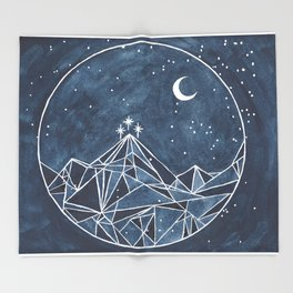 Night Court moon and stars Throw Blanket