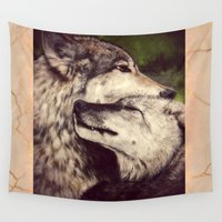 wolves Wall Tapestries featuring Wolves by CLE.ArT.