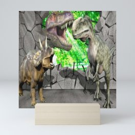 3D Dinosaurs and Broken Wall Mini Art Print