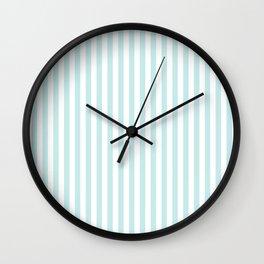 Duck Egg Pale Aqua Blue and White Wide Thin Vertical Deck Chair Stripe Wall Clock
