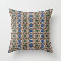 Blue Rose geometric pattern throw pillow by photosbyhealy