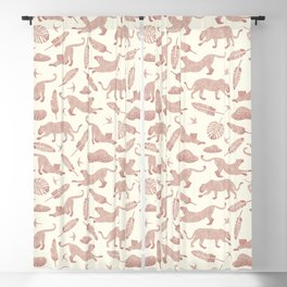 Blush Safari / Wild Cats, Monstera and Birds Blackout Curtain
