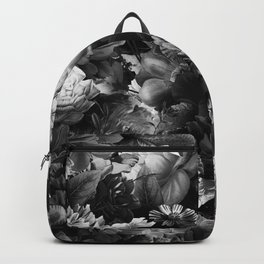 melancholy flowers big seamless pattern 01 black white Backpack