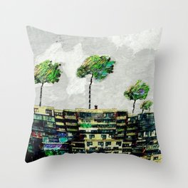 the story of green trees Throw Pillow
