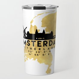 AMSTERDAM NETHERLANDS SILHOUETTE SKYLINE MAP ART Travel Mug