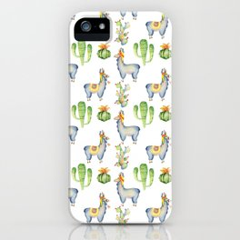 Hand painted blush blue green watercolor lamas floral cactus iPhone Case
