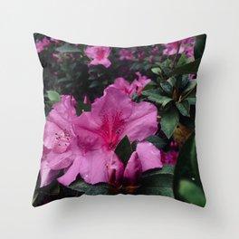 Pink Azaleas Southern Garden Plants Magenta Fuschia Spring Nature Photography Throw Pillow