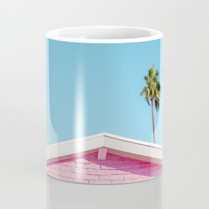 Pink House Roofline with Palm Trees (Palm Springs) Coffee Mug