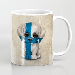 Cute Puppy Dog with flag of Finland Coffee Mug