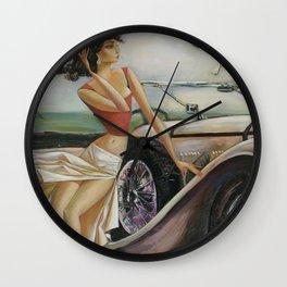 Beautiful lady with a retro car Wall Clock
