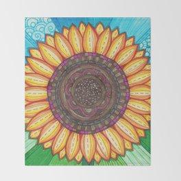 Sunflower Stitches Throw Blanket