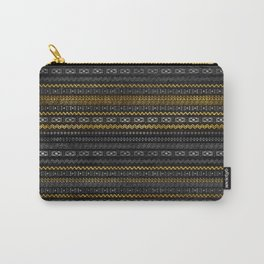 Gold and Silver Tribal Pattern on Black  wood Carry-All Pouch