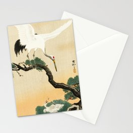 Crane and its chicks on a pine tree  - Vintage Japanese Woodblock Print Art Stationery Cards
