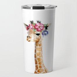 Baby Giraffe with Flower Crown Travel Mug