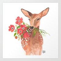 oana befort Art Prints featuring Lovely Deer by Oana Befort