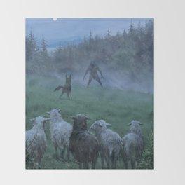 Shepherd and his faithful dog Throw Blanket