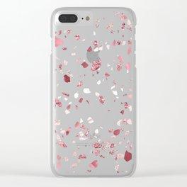 Pink Quartz Glitter Terrazzo Clear iPhone Case