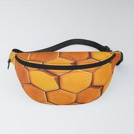 Bright orange sunlit hexagonal honeycomb tile  Fanny Pack