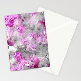 CHERRY BLOSSOMS ORCHIDS AND MAGNOLIA IMPRESSIONS IN PINK GRAY AND WHITE Stationery Cards