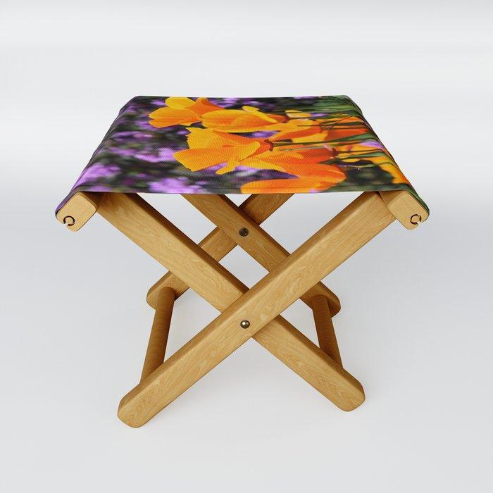 Poppies And Purple Lantana Folding Stool
