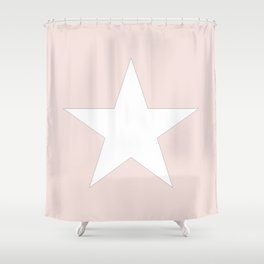 White star on pale pink Shower Curtain