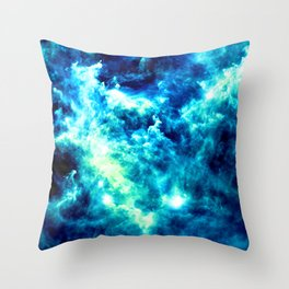 stormy nebula clouds turquoise blue Throw Pillow