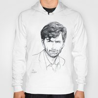 david tennant Hoodies featuring David Tennant as Broadchurch's Alec Hardy (or Gracepoint's Emmett Carver) Etching by ieIndigoEast