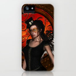 Wonderful steampunk lady with wings and hat iPhone Case