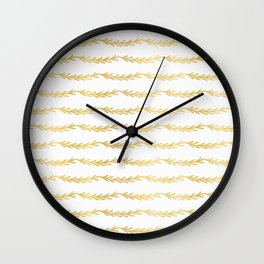 Luxe Gold Christmas Tree Branch Stripes Vector Pattern, Drawn Seamless Wall Clock