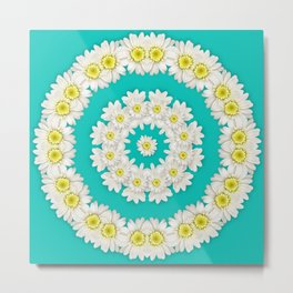 White Daisies on Turquoise Background Metal Print