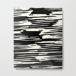 Modern Tribal Stripe Ivory and Black Metal Print