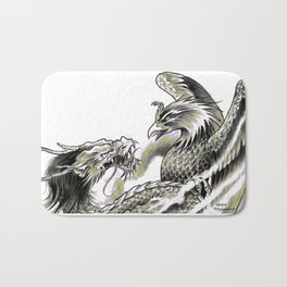 Dragon Phoenix Tattoo Art Print Bath Mat