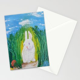 Easter Bunny hiding it's eggs Stationery Cards