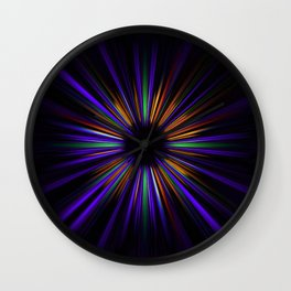 Purple and orange light trails starburst Wall Clock