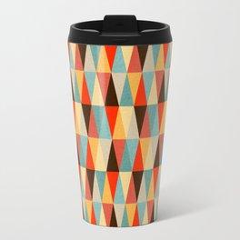 Red & Brown Geometric Triangle Pattern Travel Mug