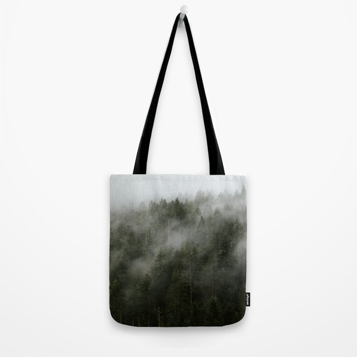 Pacific Northwest Foggy Forest Tote Bag